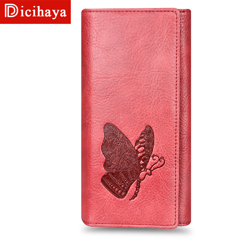 DICIHAYA Leather Women Wallet Butterfly Embossing Ladies Clutch Money Bag Female Wallet Phone Bag Purses Large Capacity 505915