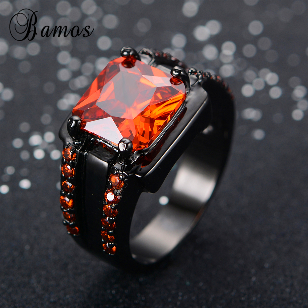 bamos male red geometric ring high quality fashion black gold filled jewelry vintage wedding rings for - Red Wedding Rings