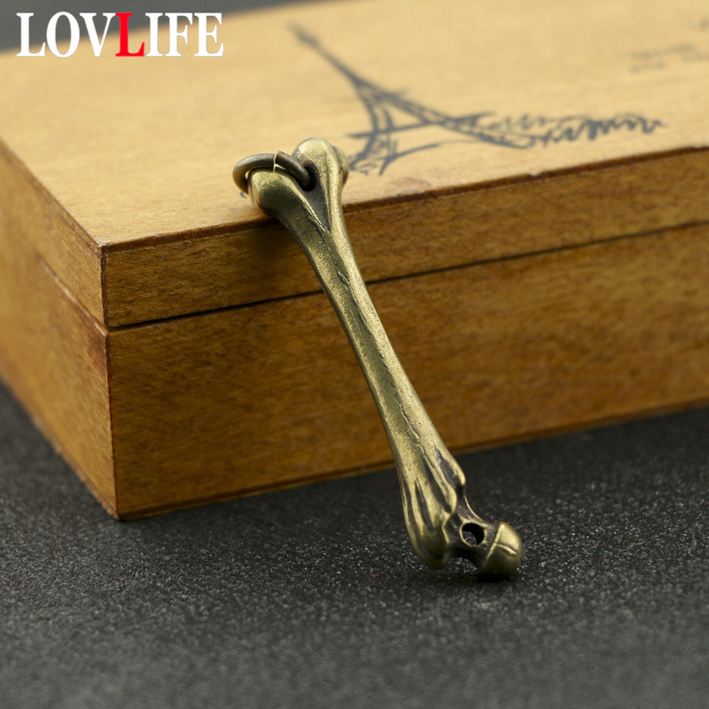 Brass Skull Bone Charms Punk Men Retro Copper Car Keychains Pendant Necklace Hanging Ornaments Vintage Charm Pendants Jewelry