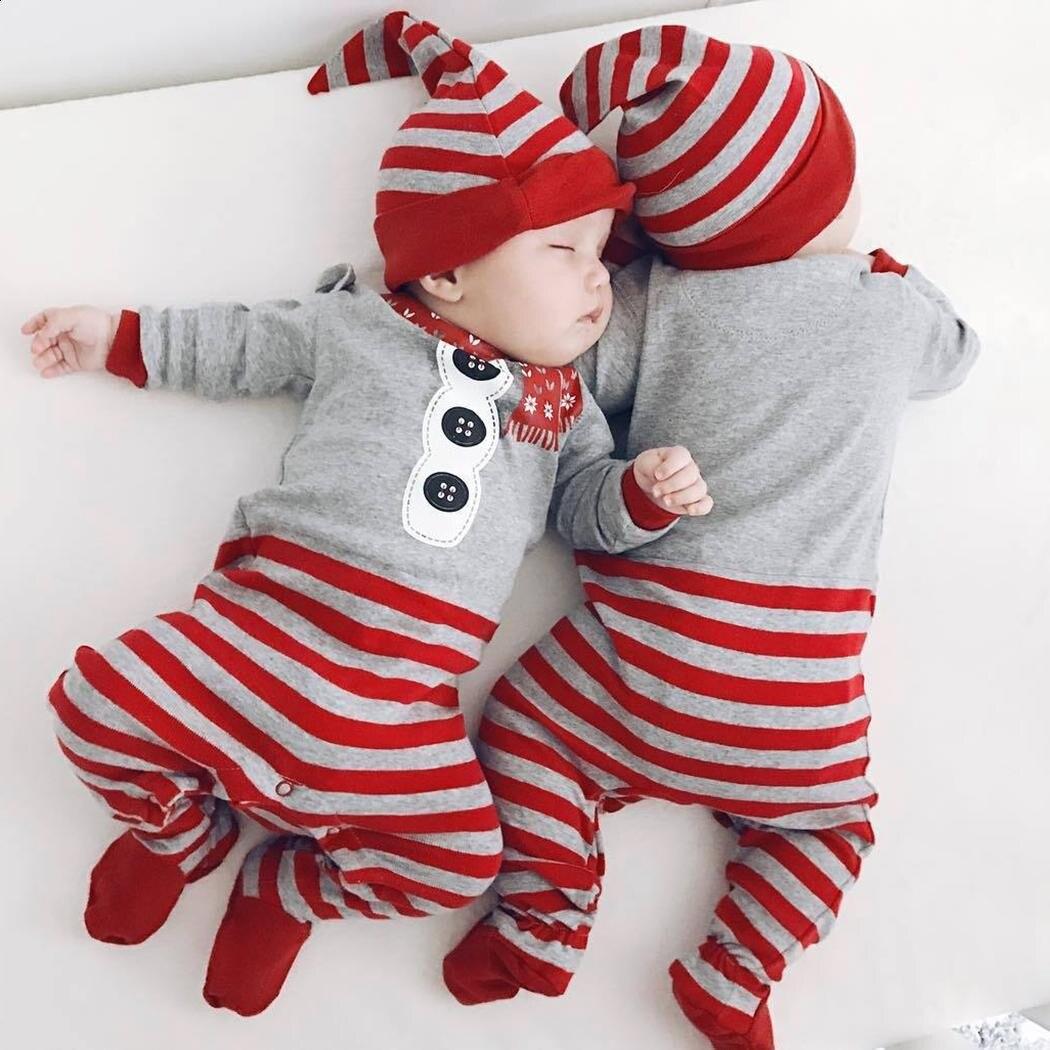 Комплект боди шляпа костюм на Рождество для малышей Одежда для детей; малышей; девочек и Обувь для мальчиков милые с длинными рукавами и кру...