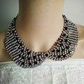 Strass moda de luxo cristal declaração colar gargantilha colar de mulheres de colarinho falso decoração vestido feminino