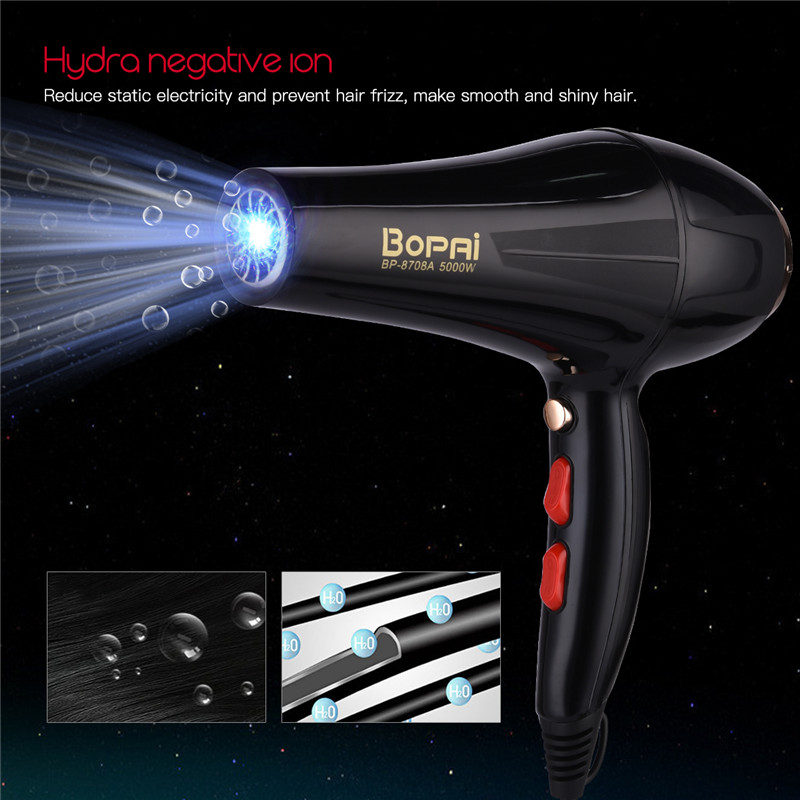 Image 3 - 5000W Professional Hair Dryer With Nozzle Super Power Hair Salon Styling Tools Hair Drier Hot Cold Air Speed Adjust Hair Blower-in Hair Dryers from Home Appliances