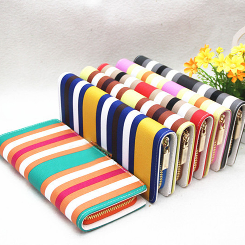 d36fc898a39c US $1.0 |2107 New Design Ladies Colorful Striped Wallets Women Long Leather  Card Case Wallet Clutch Checkbook Handbag Holder Purse-in Wallets from ...