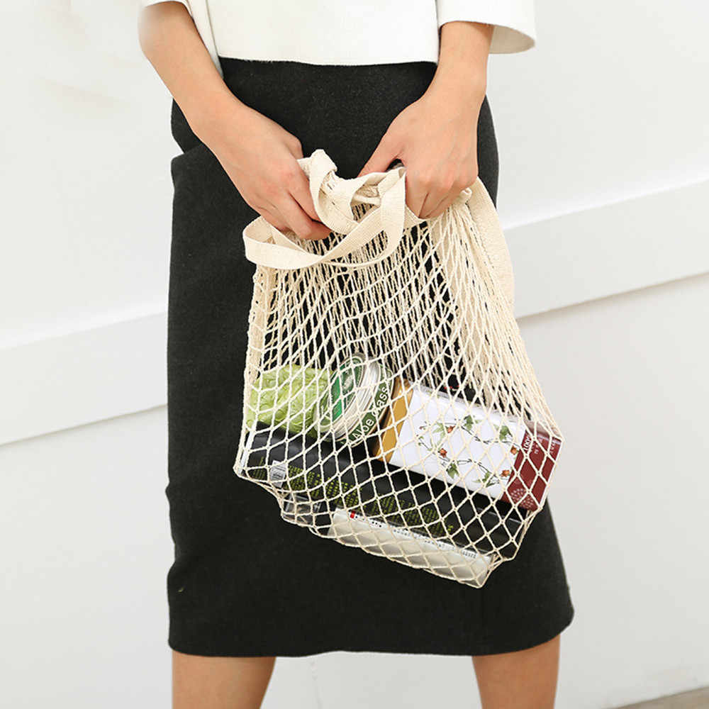 Net cloth Reusable Fruit Vegetable Shopping Bag Casual String Grocery Shopper Cotton Tote Mesh Woven Net Shoulder Bag Women