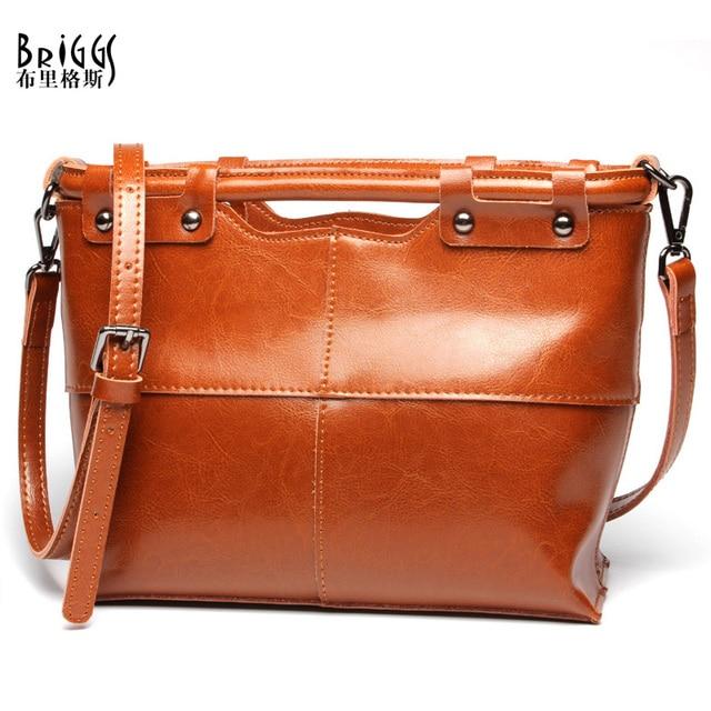 BRIGGS Newest 100% Cow Genuine Leather Bag Designer Vintage Women Leather Handbags  Fashion Women Shoulder 7c8fbf2b00