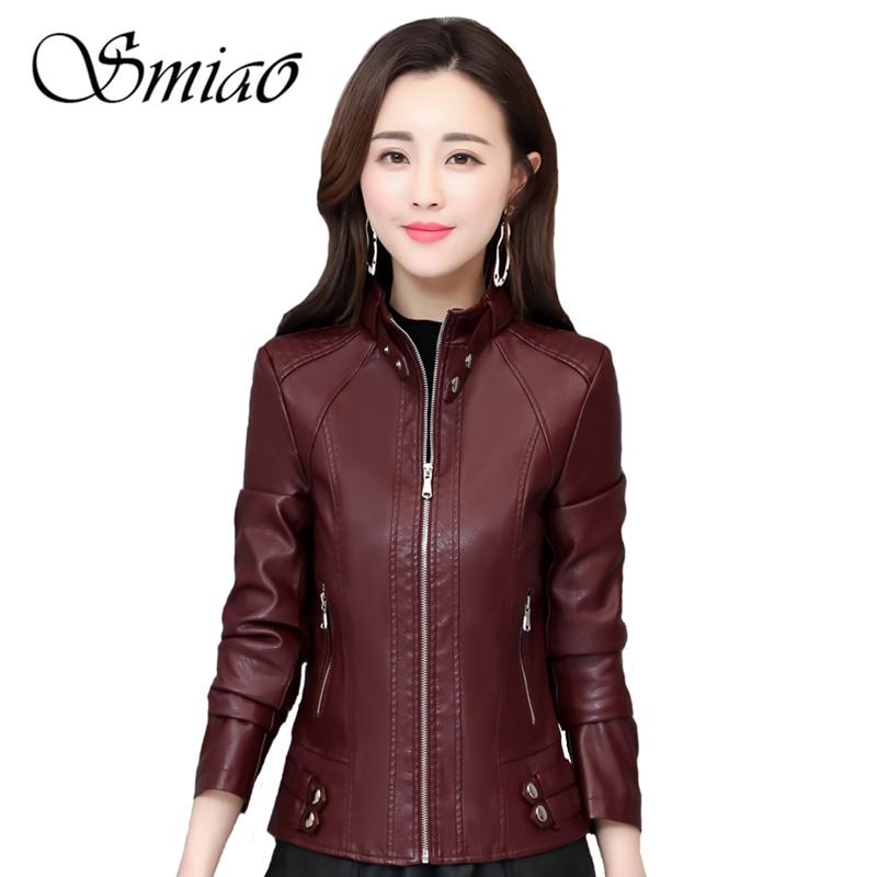 Fashion Ladies Pu Leather Jacket 2019 Autumn Winter Black Jacket Women Slim Moto Biker Faxu Leather