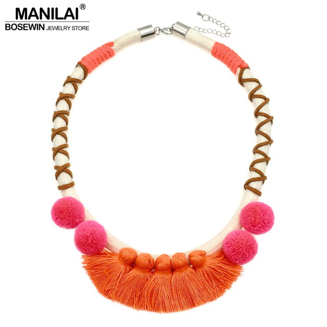 MANILAI Fashion Chunky Rope Bohemian Necklaces With Pom Pom Tassel Choker For Women Collar Ethnic Necklaces Maxi Jewelry 2017