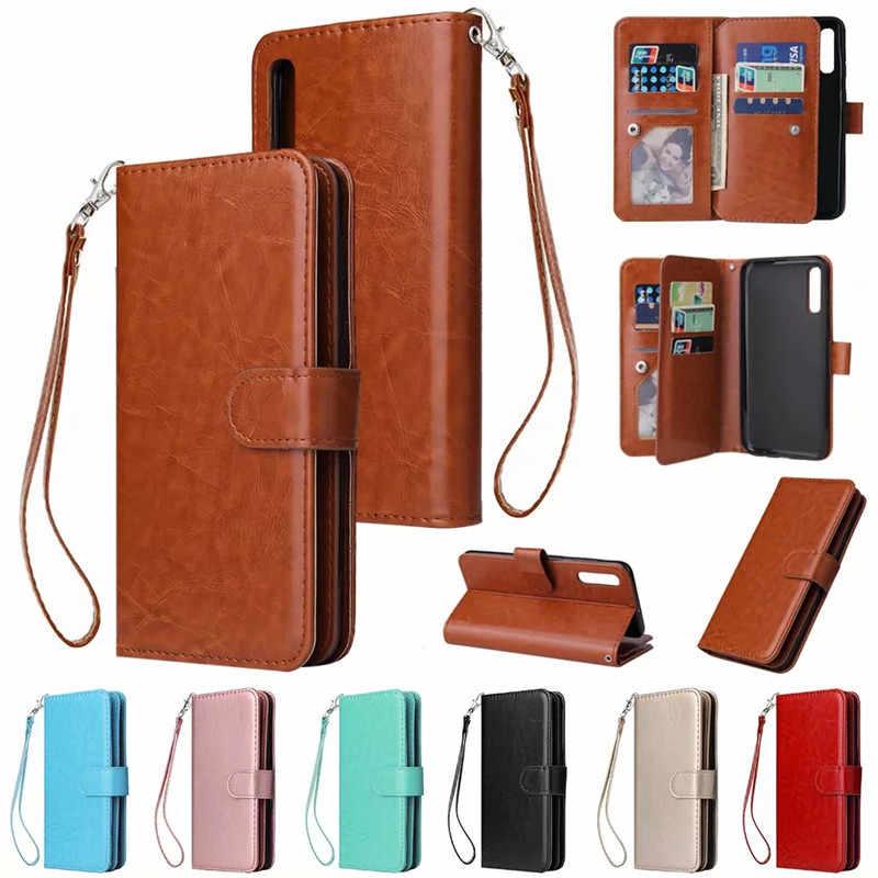 Leather Case untuk Samsung Galaxy A10 A20 A30 A40 A50 A70 A3 A5 A6 Plus A8 2018 2016 2017 Flip kasus Kartu Dompet Cover Magnet Kasus