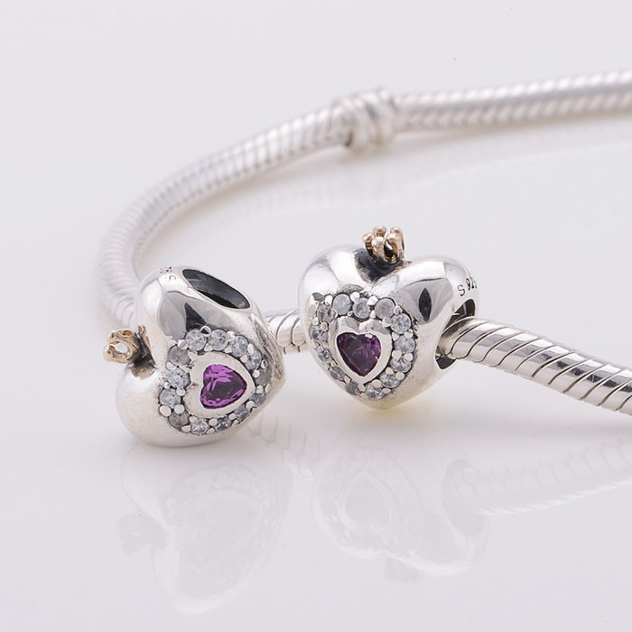 fcb5353ca142 Fit Pandora Original Charms Bracelet Silver 925 Bead Pink Princess Heart  Charm European Women Charm DIY Jewelry gift Wholesale-in Beads from Jewelry  ...