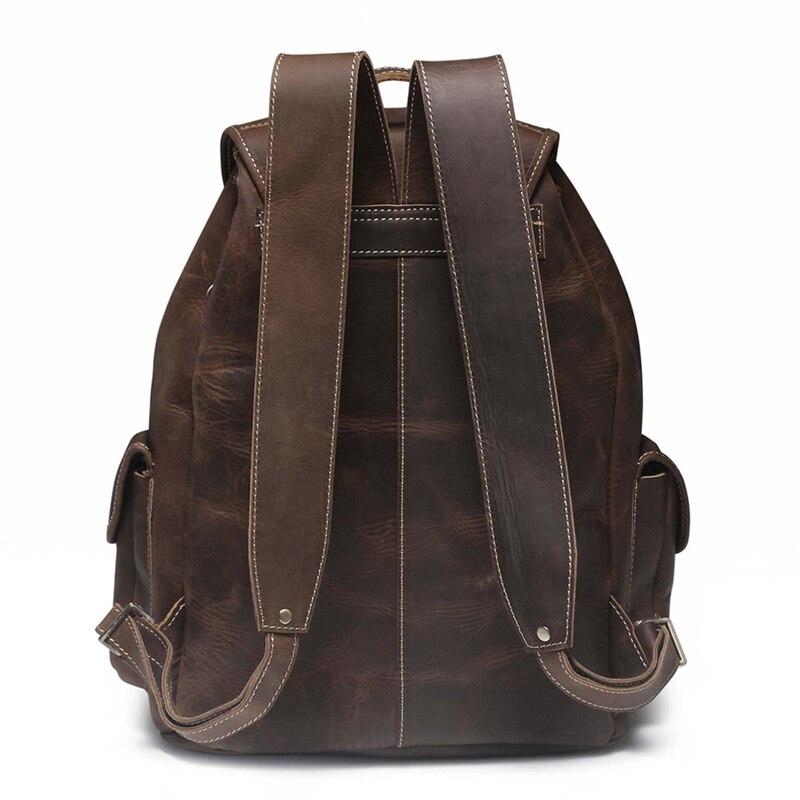 Crazy Horse skóry męska plecak w stylu Vintage, Mochila Feminina męskie torby podróżne pojemna na laptop plecak mężczyzna plecak J20 w Plecaki od Bagaże i torby na  Grupa 3