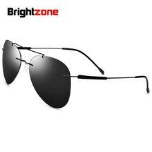 Brightzone European American Bestsellers Ultra-light Rimless Vintage Non-screw Pilot Titanium Square-Shape Polarized Sunglasses