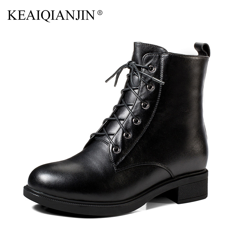 KEAIQIANJIN Woman Winter Wool Biker Boots Genuine Leather Shearling Chelsea Boots Black Fashion Lace Up Wool Snow Martins Botas