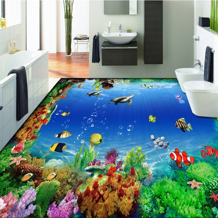 ФОТО Free Shipping 3D marine fish sea turtles floor decorative painting kitchen office dancing room floor wallpaper mural