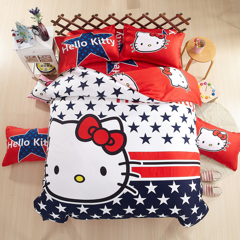 Cute Hello Kitty theme 4pcs Comforter Bedding Sets Household Cotton Linens Bed Sheet Children Cartoon Bedspread Duvet Cover