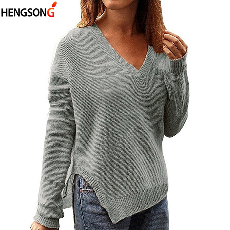 Female Loose Sweater V-Neck Long Sleeve  Split Knitted Sweater  Autumn Winter Sweaters Women Fashion Warm Pullover