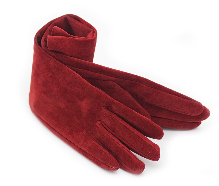 "40cm(15.75"") long fashion plain style real suede leather evening gloves red"