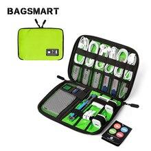 Bagsmart путешествия электронные аксессуары сумка-Органайзер для цифровых устройств, нейлоновые сумки на плечо для наушники линии передачи данных SD карты USB кабель