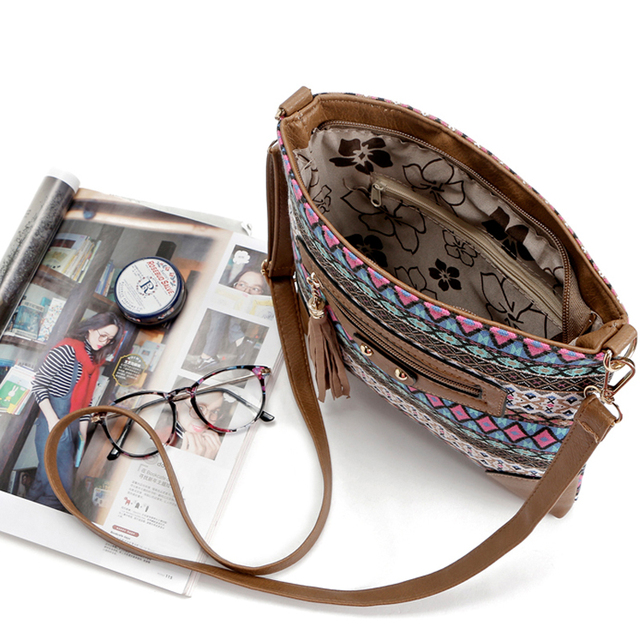 Canvas Sling bag for women messenger bags lady small vintage national crossbody shoulder bag 5