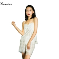 Smmoloa Double Layers Sleeveless Lace Pajama Summer Women Sleep Lounge Sexy Pajama Set