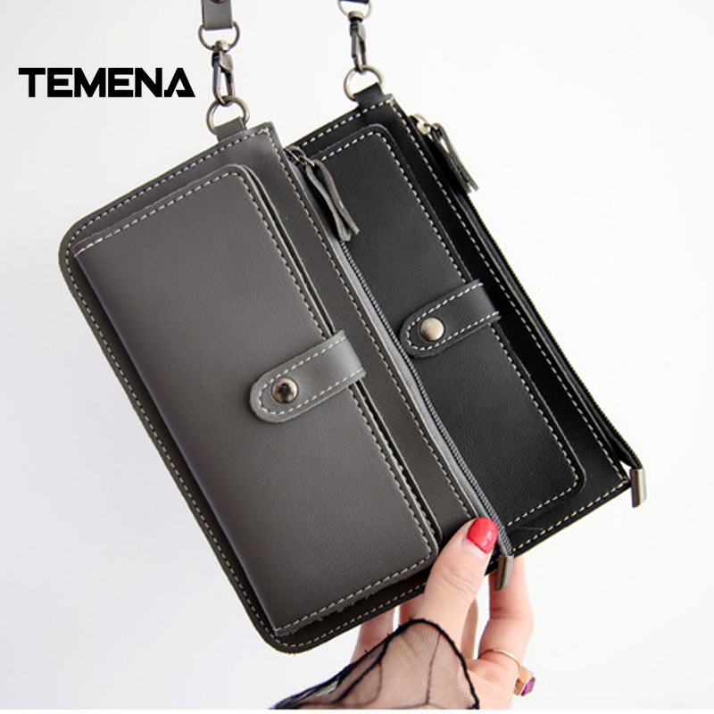 Temena New High Capacity Fashion Women Wallets Long  PU Leather Wallet Female Zipper Clutch Coin Purse Ladies Wristlet AWL052 2017 men wristlet wallets pu leather zipper pocket long wallet clutch bags man purse business big capacity bag drop shipping