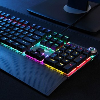 108 Keys Blue Switch Metal Panel Gaming Office Mechanical Keyboard Multiple  Lights PC Computer Laptop Supplies DropShipping