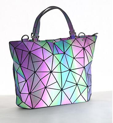 Image 5 - Maelove Luminous bag 2019 Women's Geometric Diamond Tote Fashion Folding  bag luxury handbags women bags designer-in Shoulder Bags from Luggage & Bags
