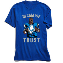 T Shirt Cool Men T-shirt In Cam We Trust Blue Tshirt Home Jersey Printed Short Sleeve 100% Cotton Crewneck Mens Top Tees Funny