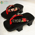 Women sandals ,2017 summer Japanese geta black toe quality  Paulownia wood female flip flops double high heel clogs GETA-115