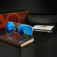 AO Sunglasses Colour Glass Lens Men Brand Designer American Army Military Pilot Sun Glasses OP55 OP57 Original box Top Quality