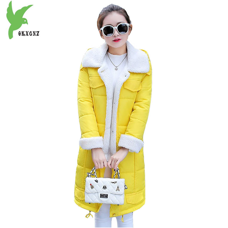 Women Winter Down cotton Jacket Coat Long Parkas 2017 Thick Warm Flocking Cotton Outerwear Plus size Female Loose Jackets OKXGNZ romantichut 2017 new long parkas female hooded thick coat down cotton winter jacket fashion warm women outerwear plus size 3xl