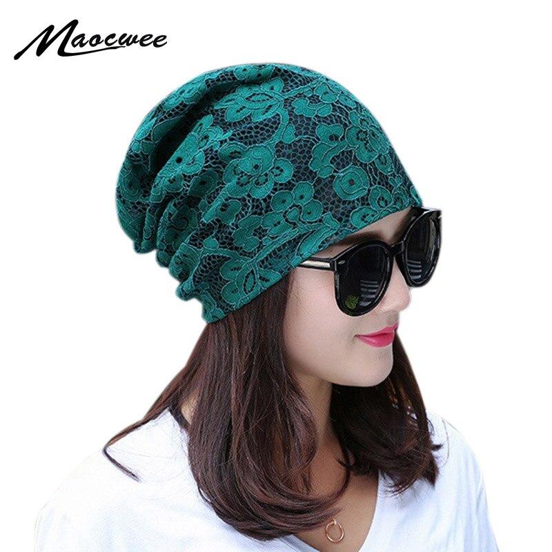 Spring Autumn Green Turban Bonnet Caps Women Fashion Lace Flower Thin Beanies Hat For Ladies Sckullies Gorros Mulheres Beanie