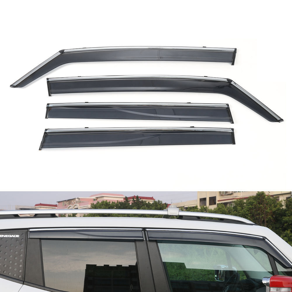 BBQ@FUKA 4x Shiny Car Window Visor Vent Shades Sun Rain Guard Cover Sticker Styling Fit For Jeep Renegade 2015 2016