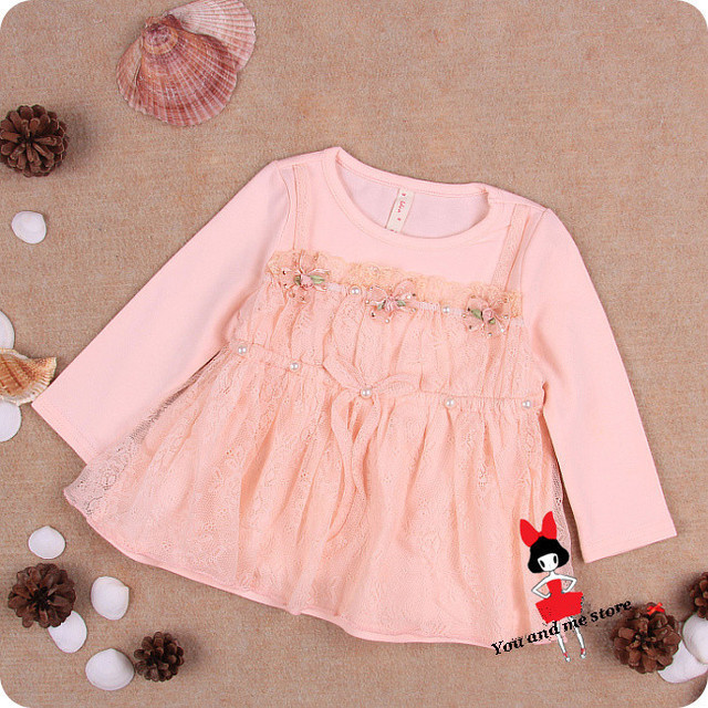 Autumn lace floral baby dress,Party Birthday baby girls dresses,princess vestidos infantis TUTU baby clothing pink white