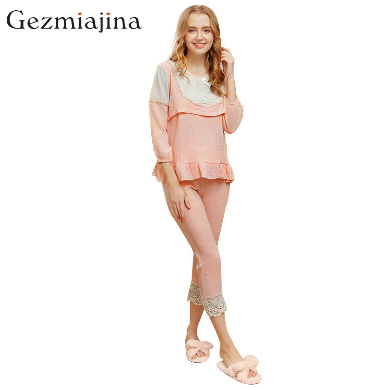 2018 Spring summer maternity wear Pregnant women Nursing pajamas Lactation suit lace stitching feeding clothing