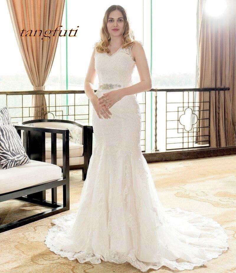 White Backless Lace Mermaid Wedding Dresses 2018 V Neck: Mermaid Wedding Dresses Long 2018 With Lace Appliques