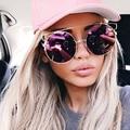 New Round Pilot Eyewear 2016 Brand Designer Oversize Mirror Metal Sunglasses Women Fashion Men Cateye Sunglasses HD UV400