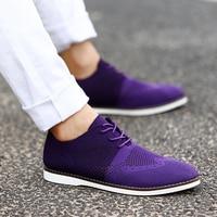 Mesh Men Oxfords Summer Shoes Men Breathable Men Shoes Casual Grey Red Purple