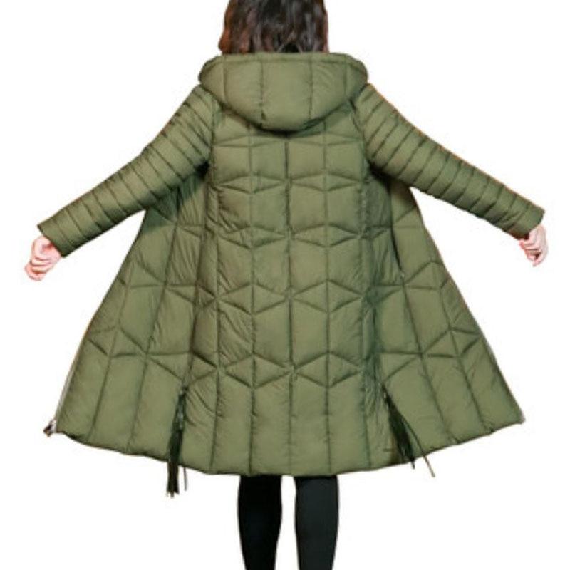 2018 women winter hooded warm coat Female plus size long cotton padded jacket fashion   parka   womens wadded feminina Outwear