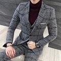 2017 Inverno Mens Blazers Ternos Xadrez Cinza Natal Veludo Espessamento 5XL Slim Fit Plus Size 3 peça Conjunto Terno Masculino projetos