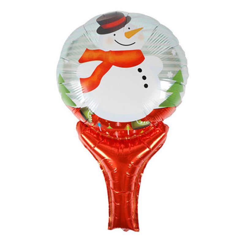 1 Pcs Serie di Cartoni Animati Di Natale Babbo natale Pupazzo Di Neve Portatile Bacchetta Aerostati della Stagnola Forma L'aria Piena di Divertimento Giocattoli Decorazione Del Partito