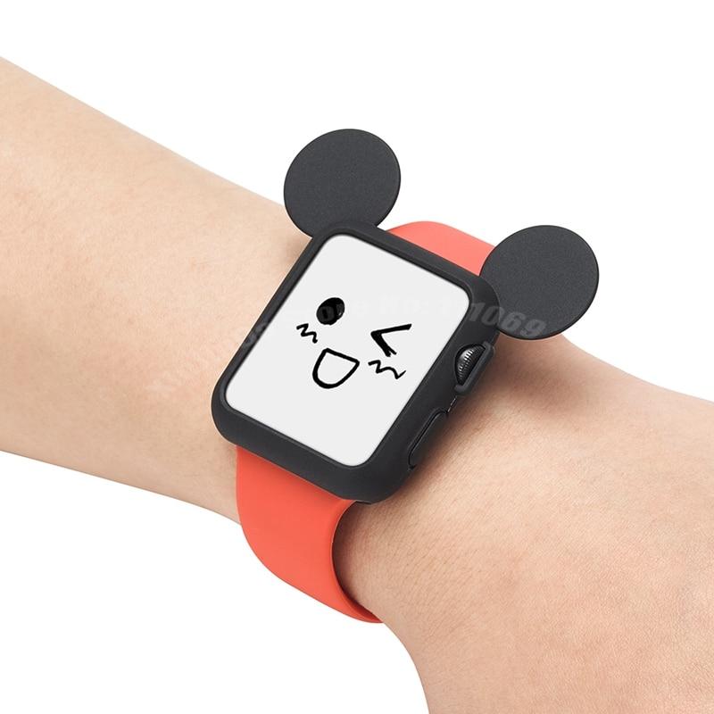 imágenes para 10 unidades 2017 orejas de ratón lindo de la historieta suave de silicona case reloj banda para apple watch iwatch colorido cáscara de la cubierta 38mm 42mm