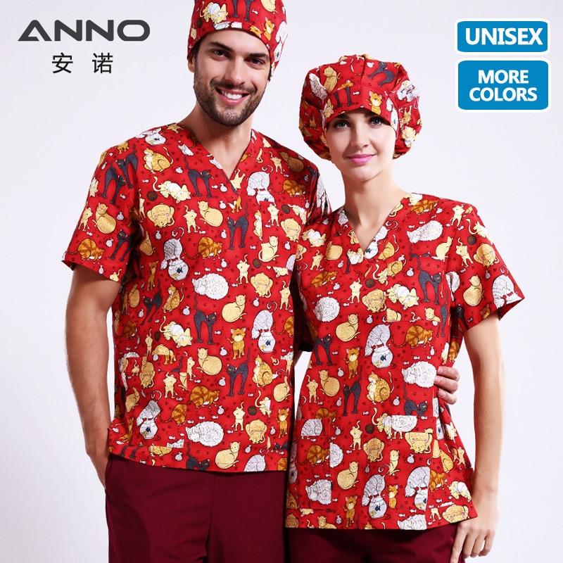 Anno Medical Clothing Matching Women Men Cartoon Hospital Nursing Scrubs Set Clinical Uniforms Surgical Suit Quality First Work Wear & Uniforms Medical
