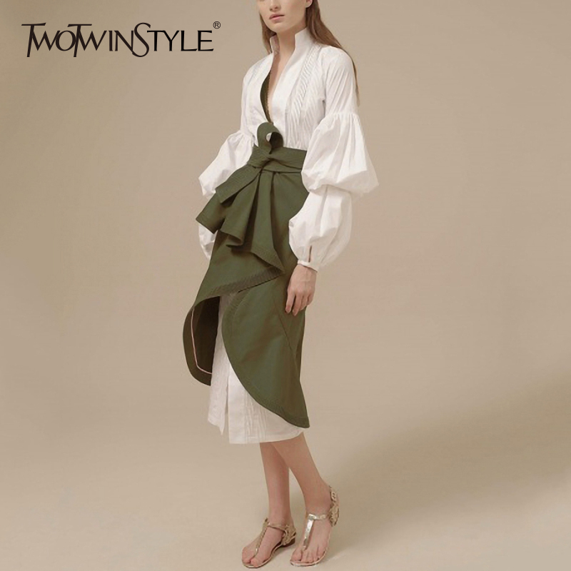 TWOTWINSTYLE Skirt Two Piece Set Female V Neck Puff Sleeve Big Size Long Dress With High Waist Lace Up Ruched Irregular Skirts