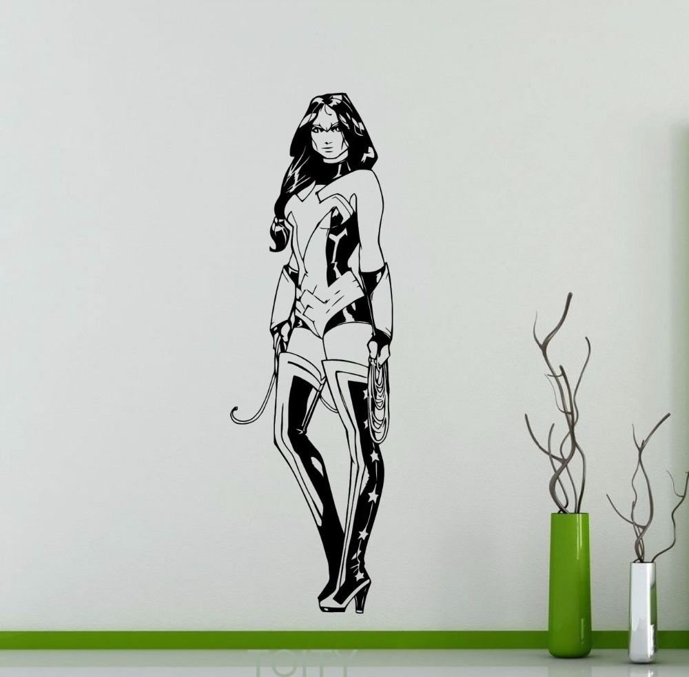 online get cheap marvel comic wall decals aliexpress com wonder woman wall decal dc marvel comics superhero vinyl sticker dorm home interior decoration waterproof high quality mural