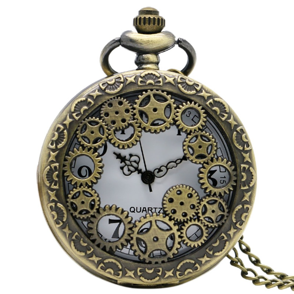Retro Antique Copper Steampunk Vintage Hollow Bronze Gear Quartz Pocket Watch Necklace Pendant Clock Chain Men's Women's Gifts
