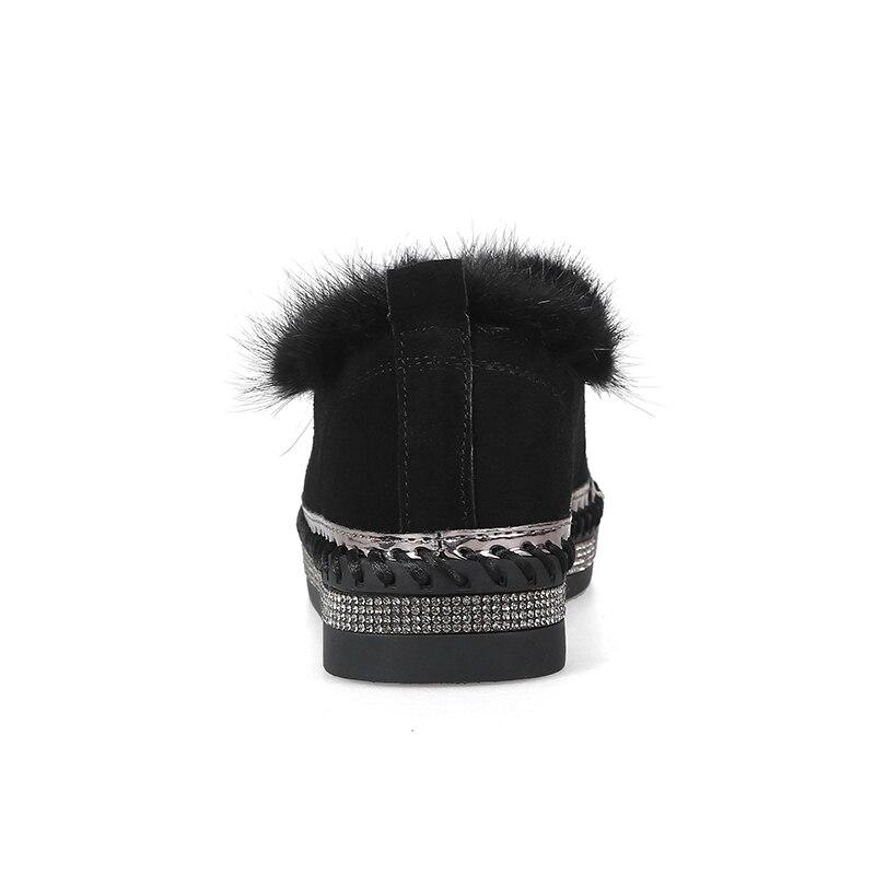 Plat Femelle Cheveux black Chaussures Au Apricot Bottes De Femmes Automne Nouveau Réel Chaud Top Mode 2018 Garder Cheville Cristal Qualité gray Hiver Nouvelle hQdxBsrCot