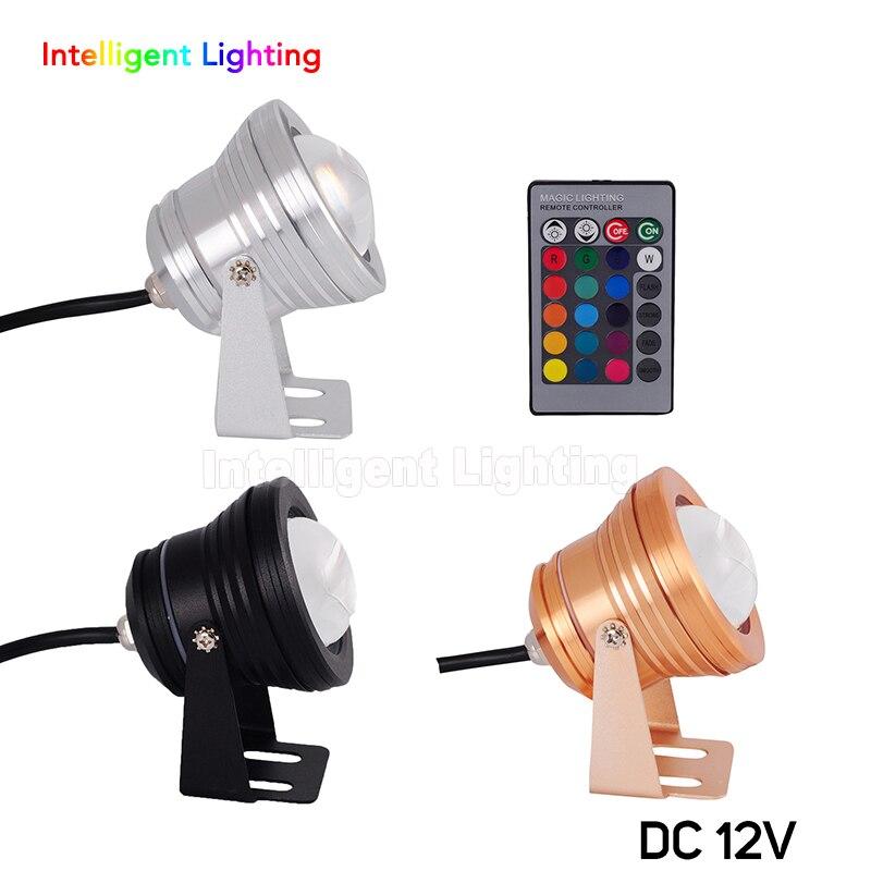 цена Wholesale 10W DC12V Silver Case/Gold Case/Black Case RGB/R/G/B/White/Cold/Warm White led underwater light Convex Glass