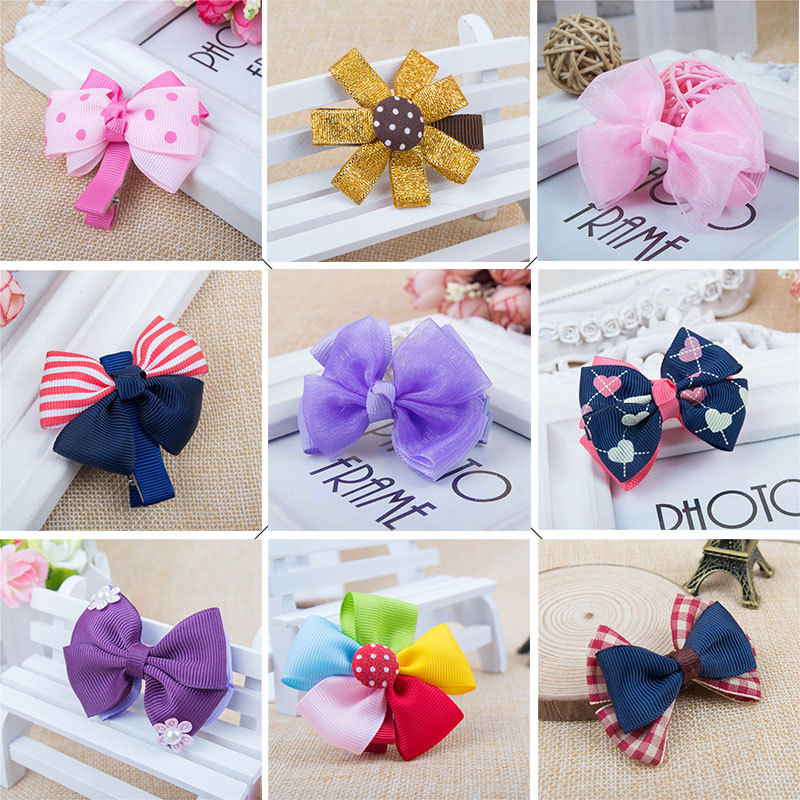 17 Colors Available Hairpin/Hair clip with Bowknot or Floral,Ribbon material handmade Kids girl hair accessories. 7 pairs lot promotion hairpin hairclip headwear girl hair accessories kids hair clip girl christmas gift