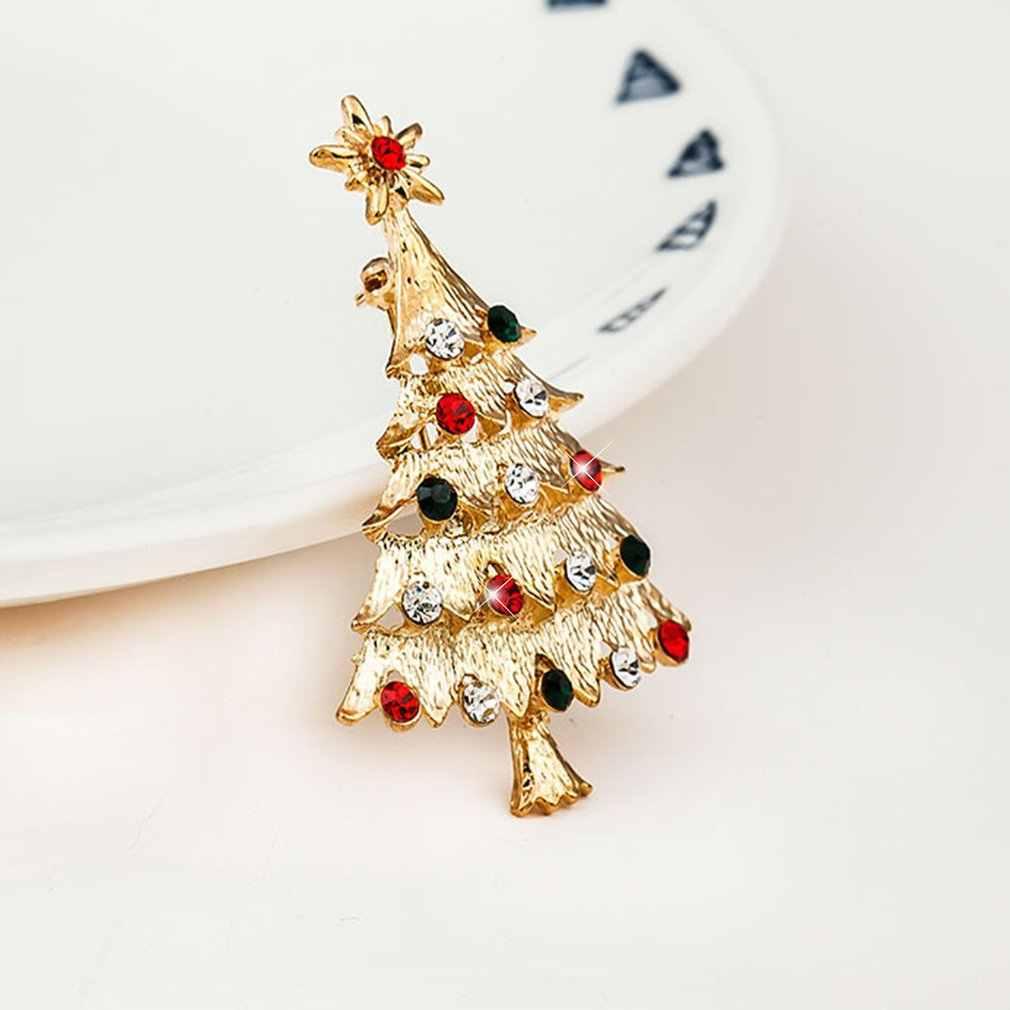 Fashion Bohemian Pohon Natal Bintang Email Kristal Berlian Imitasi Bros Pin Wanita Brocade Kostum Bijoux Hadiah DIY Perhiasan