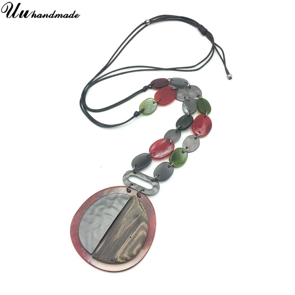 Statement Acrylic Wood Alloy Stitching Geometric Necklace Pendant Black Retractable Leather Chain Women Jewelry Choker kolye bts